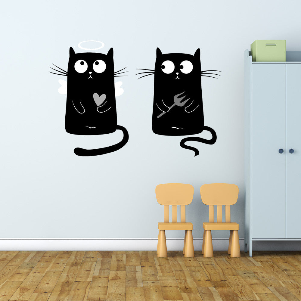 Angel and Devil Kitties Wall Decal Sticker-Wall Stickers-Style and Apply