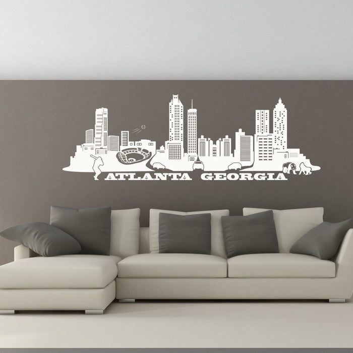 Atlanta City Skyline Wall Decal