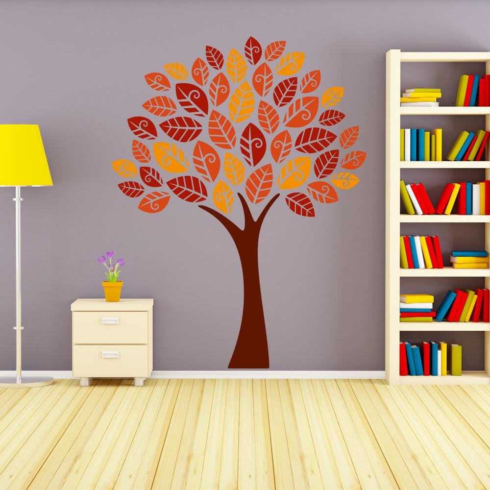 Autumn Leaves Tree Wall Decal Sticker