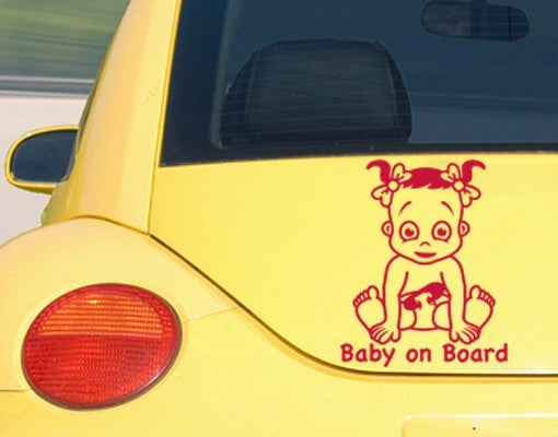 Baby On Board - Girl-Car Decals-Style and Apply