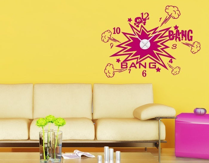 Bang Bang Wall Decal Clock