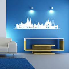 Barcelona Skyline-Wall Decals-Style and Apply