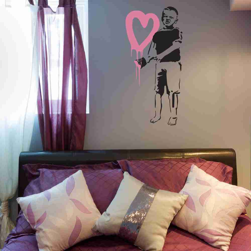 Big Hearted Boy Banksy Wall Decal Sticker-Wall Decal Stickers-Style and Apply