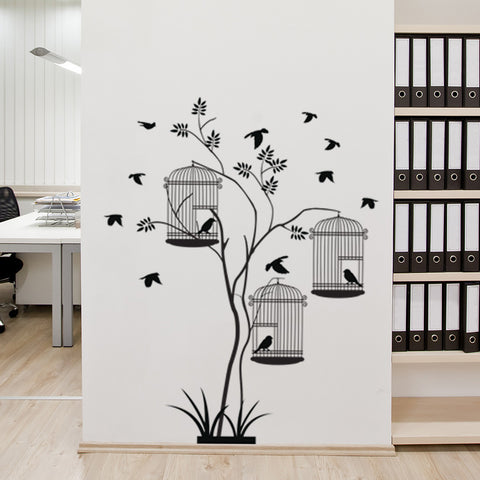 Bird Cages Plant Wall Decal-Wall Decals-Style and Apply