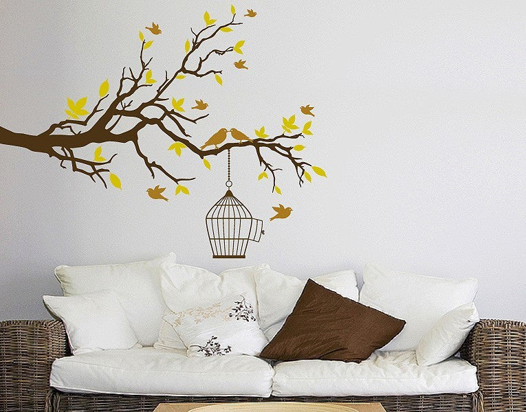 Branch with Birds-Wall Decal Stickers-Style and Apply