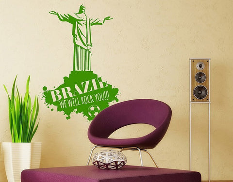 Brazil we will Rock you!!! Wall Decal-Wall Decals-Style and Apply