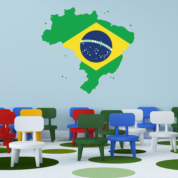 Brazil Map Wall Decal
