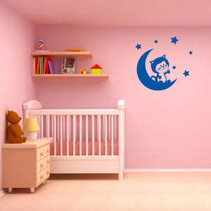 Cat on the Moon Wall Decal-Wall Decals-Style and Apply