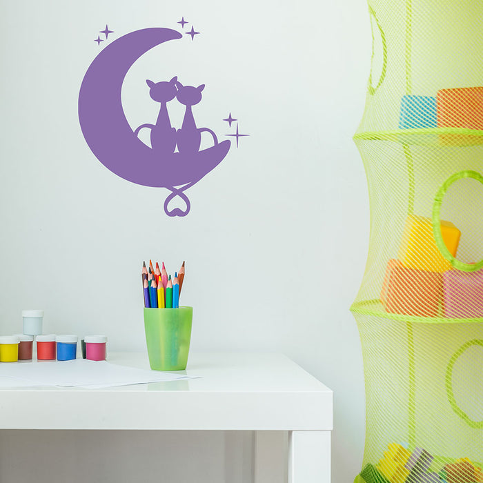 Cats on the Moon Wall Decal