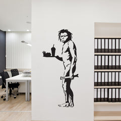 Caveman With Fries Banksy Wall Decal-Wall Decals-Style and Apply