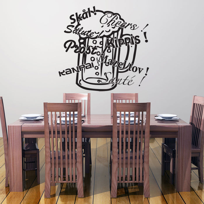 Cheers, Prost, Salute, Sante... Beer Glass Wall Decal