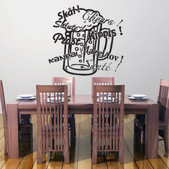 Cheers, Prost, Salute, Sante... Beer Glass Wall Decal-