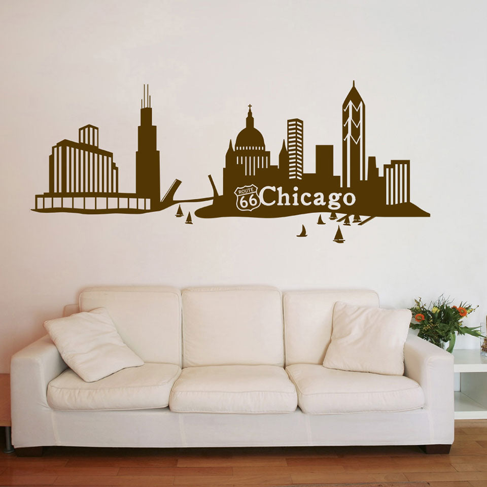 Chicago Skyline Decal-Wall Decals-Style and Apply