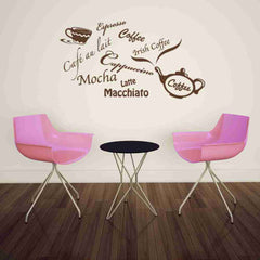 Coffee Types: Espresso, Mokka, Latte, Macciato, etc Wall Decal-Wall Decals-Style and Apply