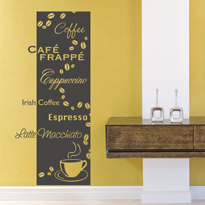 Coffee Types Decal