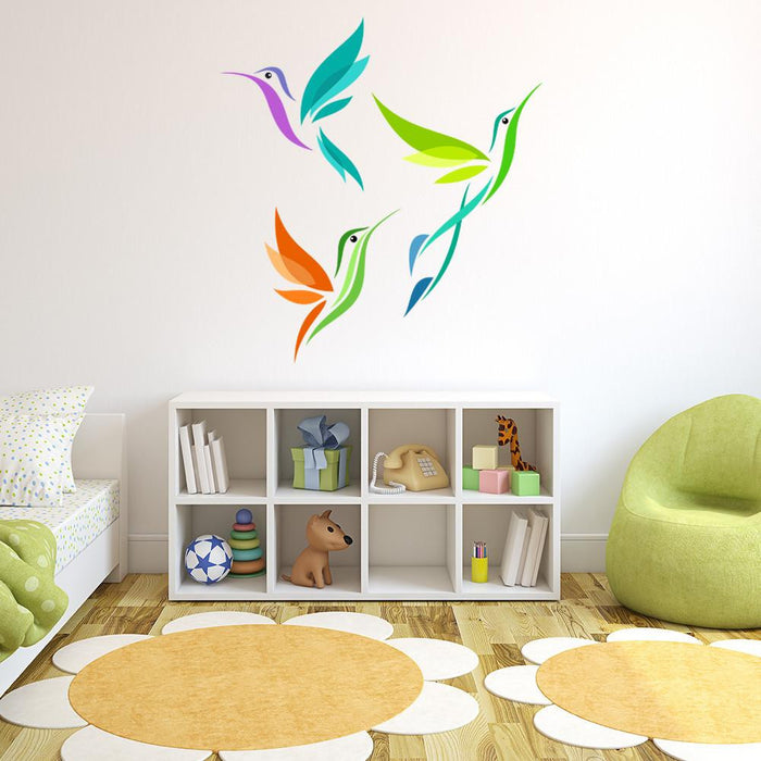 Colorful Abstract Birds Wall Decal Sticker