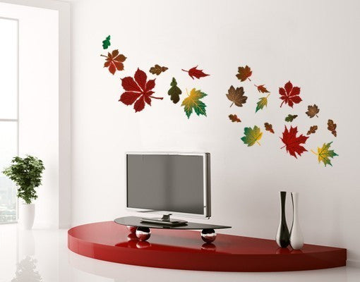 Colorful Spring leaves-Wall Decal Stickers-Style and Apply