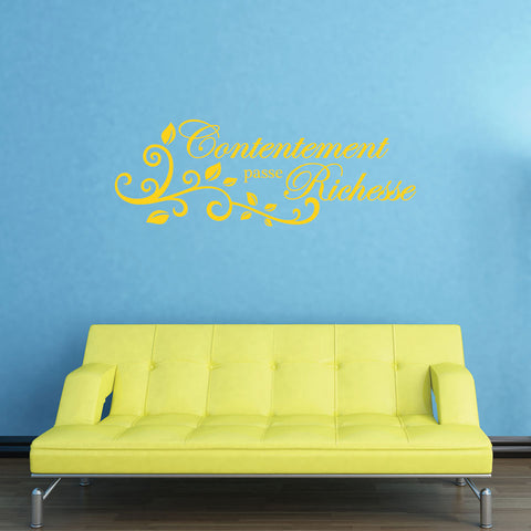 Contentement french Quote-Wall Decal