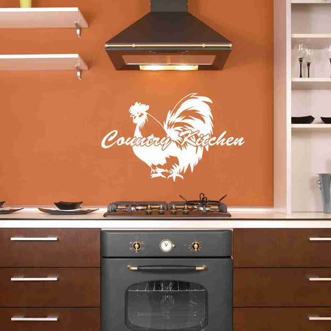 Country Kitchen Quote with Rooster Wall Decal-Wall Decals-Style and Apply