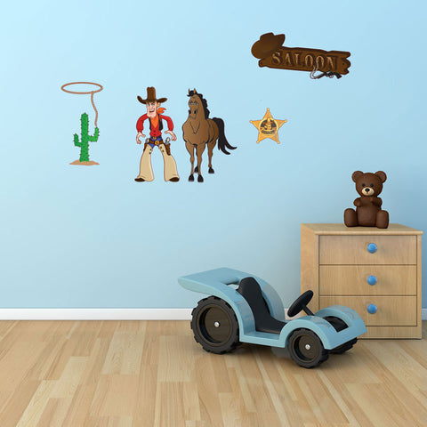 Cowboy Wall Sticker Set-Wall Decal Stickers-Style and Apply