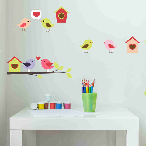 Cute Birds Branch Houses Wall Stickers-Wall Stickers-Style and Apply