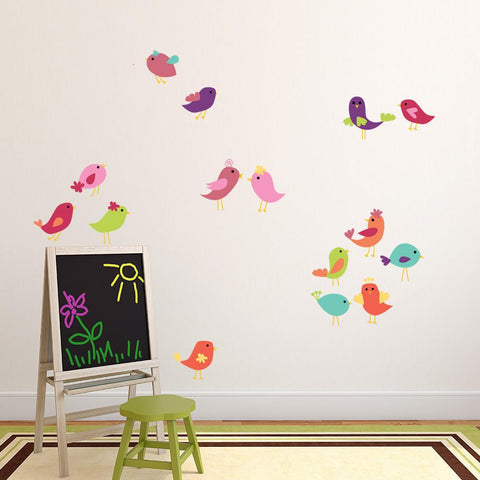 Cute Birds Set Wall Decal Sticker