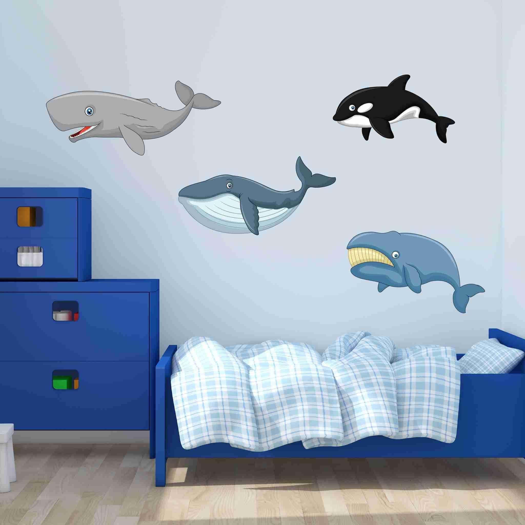 Cute Whale Set Wall Stickers