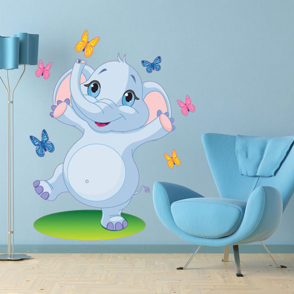 Dancing Elephant-Wall Decal Stickers-Style and Apply