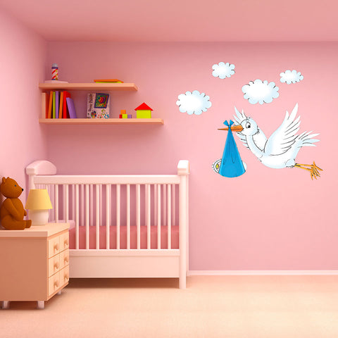 Delivery Stork Wall Decal-Wall Decal Stickers-Style and Apply
