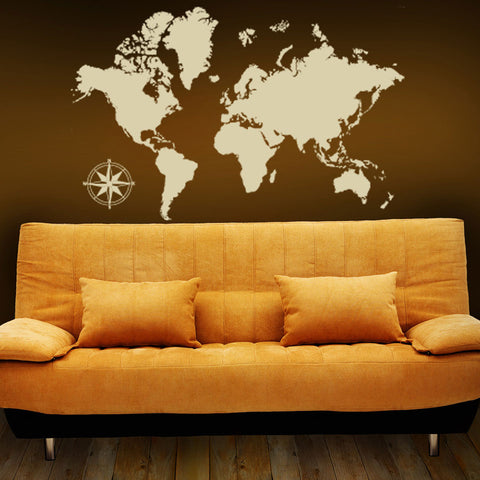 Map Wall Decal World Map Wall Sticker Wall Map Of The World