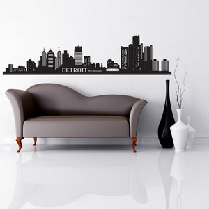 Detroit City Skyline Wall Decal-Wall Decals-Style and Apply