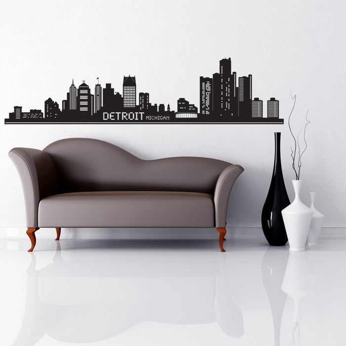 Detroit City Skyline Wall Decal