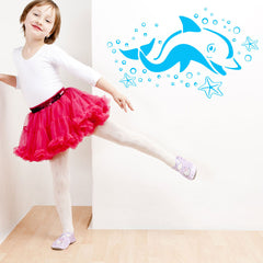 Dolphin with Sea Stars Wall Decal-Wall Decals-Style and Apply