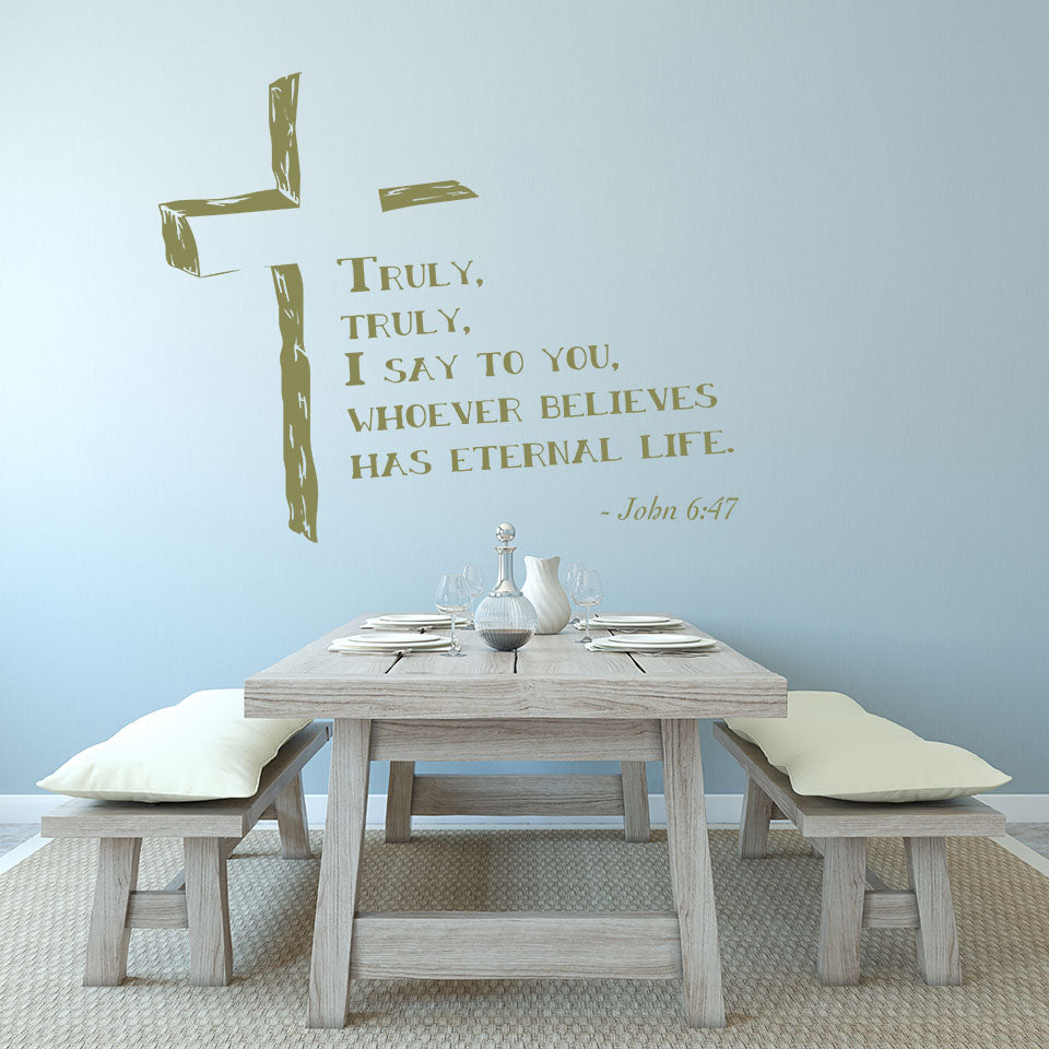 Truly, Truly, I say to you whoever believes had eternal life Wall Decal