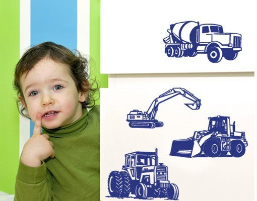 Excavator Set Decal-Wall Decals-Style and Apply
