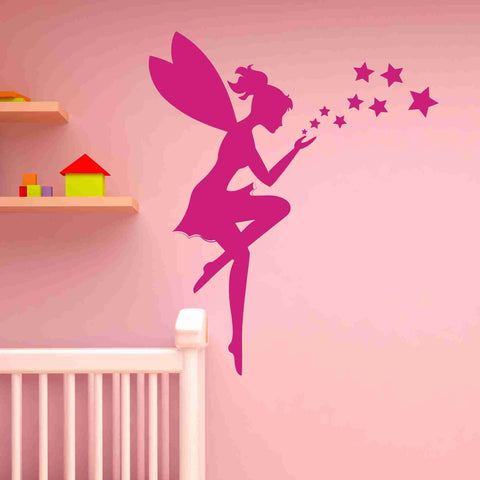 Fairy and stars wall decal sticker girls room vinyl wall art nursery wall decor