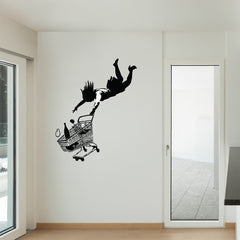 Fall Shopping Cart Banksy Wall Decal-Wall Decals-Style and Apply