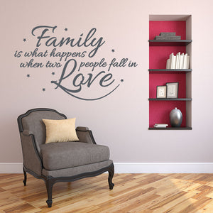 Family is What Happens When Two People Fall in Love Wall Decal quote