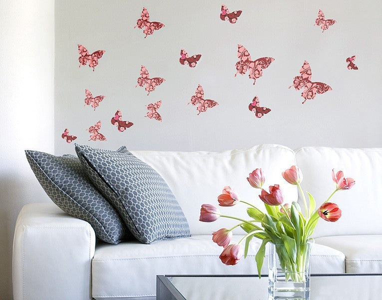 Floral Butterfly Set-Wall Decal Stickers-Style and Apply
