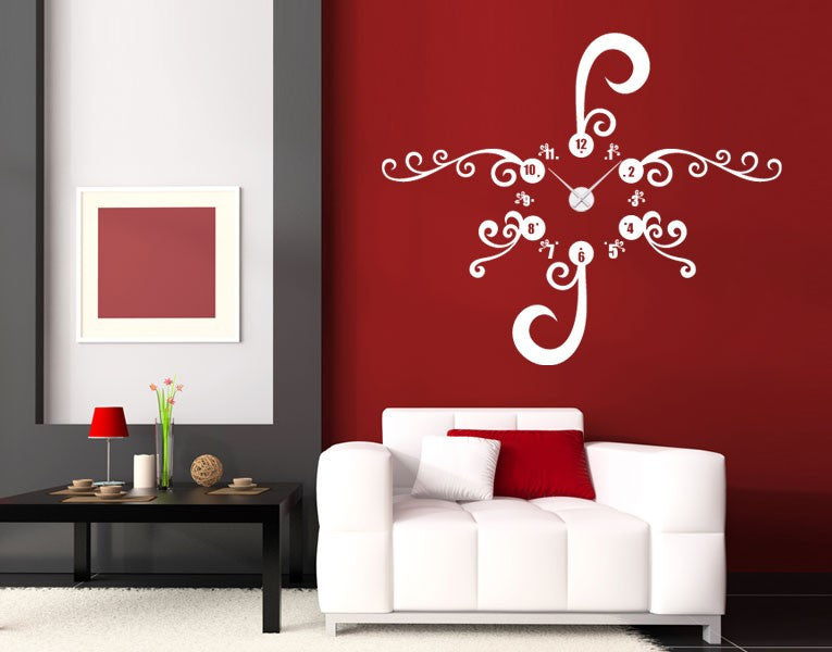 Floral Clock-Wall Decal Clocks-Style and Apply & Floral Wall Decal Clock u2013 Style and Apply