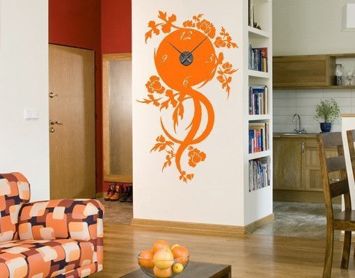 Floral Time Wall Decal Clock