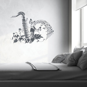 Floral Saxophon Wall Decal