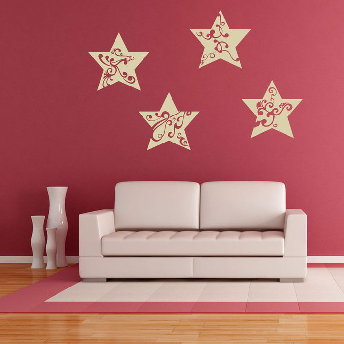 Floral Stars II Wall Decal