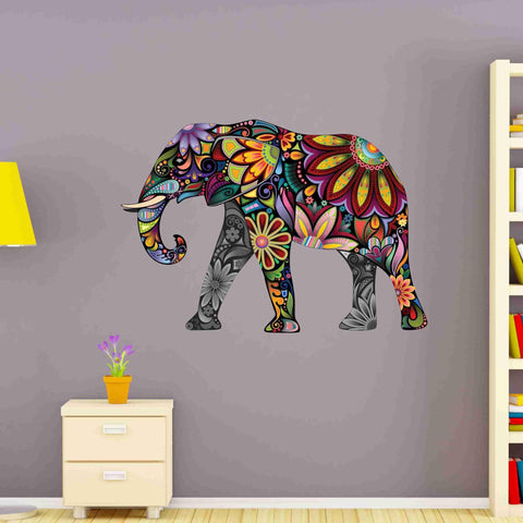 Flower Elephant Wall Stickers