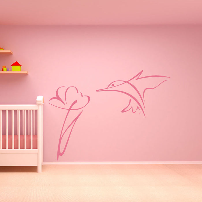 Flower Bird Wall Decal