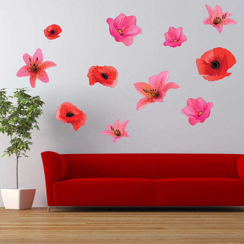 Flower Wall Decal Set Style And Apply