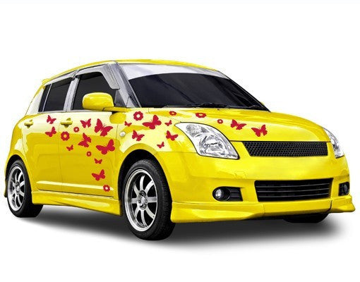 Flowers & Butterflies Car Decal
