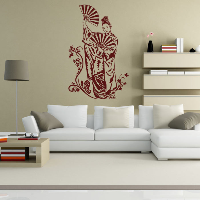 Geisha with Fan Wall Decal