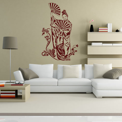 Geisha with Fan Wall Decal-Wall Decals-Style and Apply