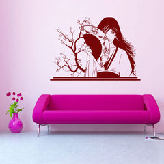 Geisha with Fan-Wall Decal